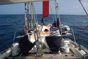 The dinghy prepared for the journey