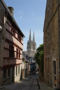 Old buildings in Quimper looking through to the catherdral spires