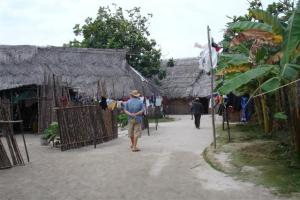 Bill walking through the village on Nalunega