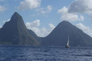 Blue Magic sailing by the towering Pitons