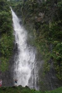 Sue at base of waterfall