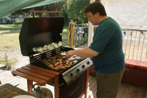 Barry cooking the Christmas BBQ