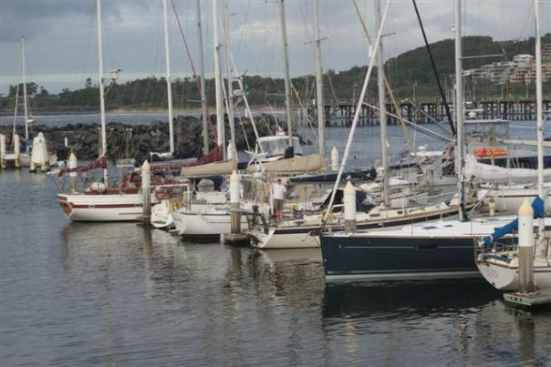 Camomile safely tucked up in the marina
