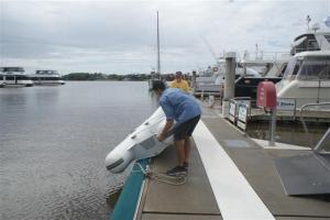 Launching the dinghy