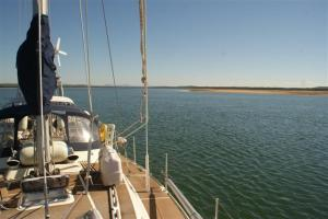 Anchored among the sandbars