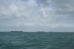 Some of the ships at anchor