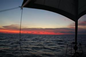 Early morning sunrise under the twizzle - one of the true joys of sailing the oceans