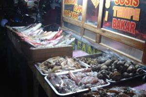 Fish in the night market waiting to be cooked