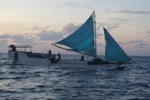 A rickety Indonesian fishing boat