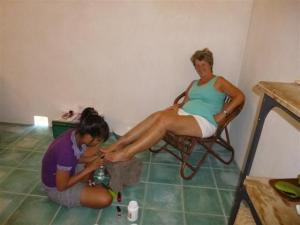Sue having a pedicure