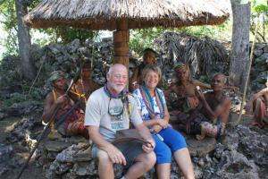 Bill and I with the elders of the village