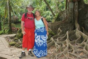 Bill and Sue in sarongs.