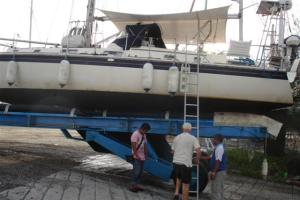 Bill inspecting the hull after Camomile was lifted