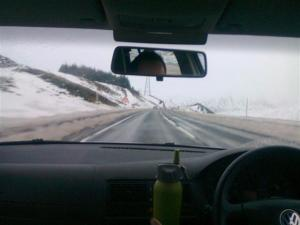 Driving through the snowy highlands