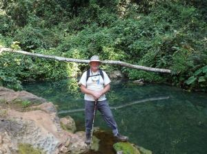 The blue hole source of the Kouang Si waterfall