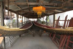 The monastery's two ornate longboats