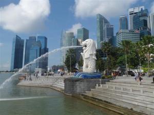 The impressive Merlion statue