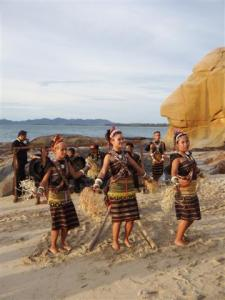 Clever dance using bamboo poles