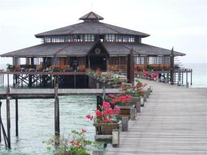 Looking out to the restaurant built over the water