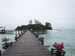 Looking from the restaurant back to the island