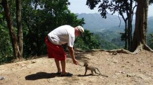 Bill feeding the monkey
