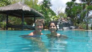 Sue and Sonal in the pool