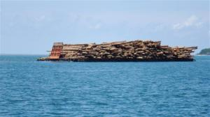 An overloaded barge