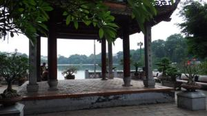 View from Ngoe Son temple across the Hoam Kiem lake