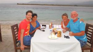 Thomas and Sonal with Sue and Bill in Gili Air