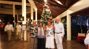 Norman, Sara, Sue and Bill at pre Christmas cocktail party at Rebak marina