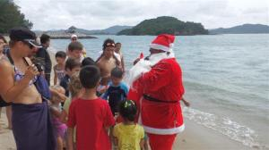 Santa Claus on the beach