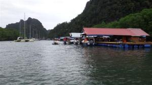 A row of floating restaurants