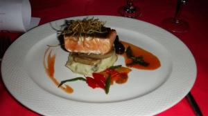 Pan seared fillet of Norwegian wild salmon with fennel root, truffle mash and berry barbecue sauce