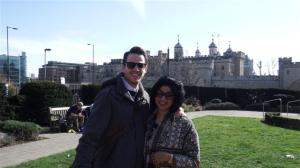 Thomas and Sonal outside the Tower of London
