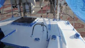 The aft deck masked up