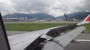 Landing at Hong Kong airport