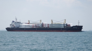 Cargo ship carrying turbine blades