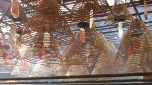 The large spirals hanging from the ceiling