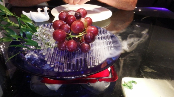 Grapes on a bed of dry ice