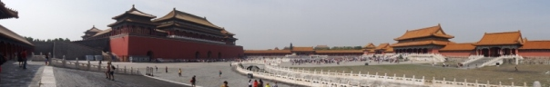 Meridian gate on the left, five marble bridges in the centre, Gate of Supreme Harmony on the right