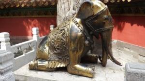 Kneeling elephant