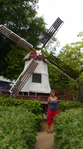 Sue by the little replica of a dutch windmill
