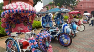 Colourful musical bikes