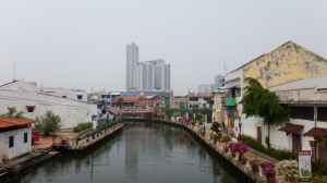 Modern buildings surround Melaka