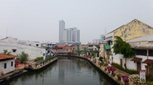 Modern buildings surround Melaka