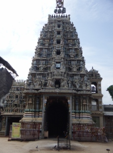 A close up of the gopuram (gateway tower)