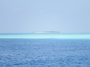 Looking across the reef to the nearest island.