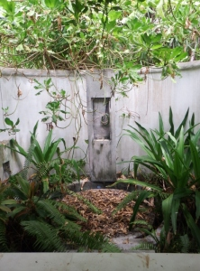 The overgrown outside shower