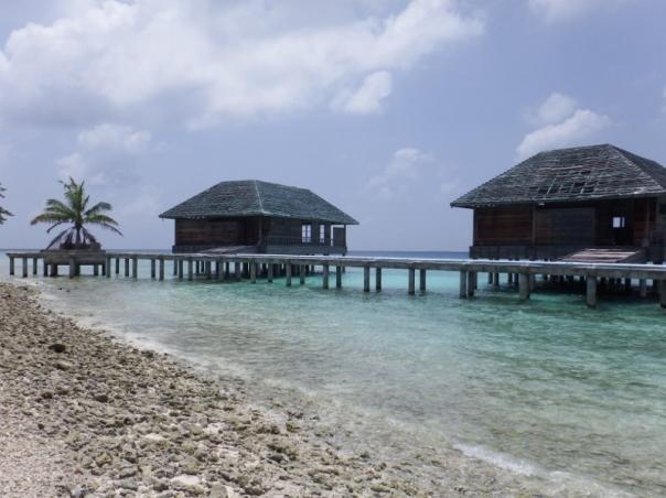 Derelict overwater bungalows