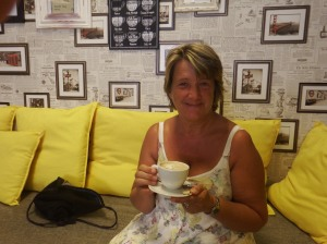 Sue with her first decent coffee in weeks